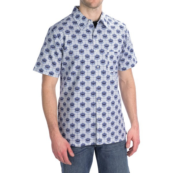 CLOSEOUTS . A must-have for casual wardrobes everywhere, Royal Robbins' Topography Print shirt features a soft cotton printed with a dynamic, eye-catching pattern. Available Colors: LIGHT PEWTER, ARCTIC BLUE. Sizes: S, M, L, XL, 2XL. - $9.81