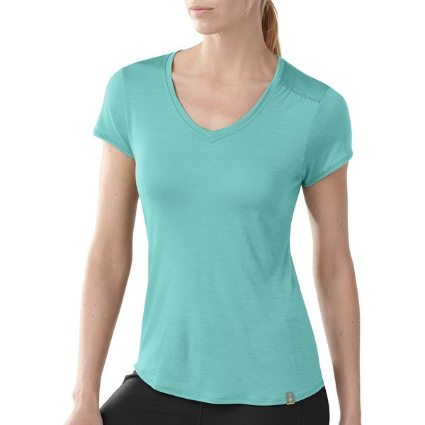 Camp and Hike CLOSEOUTS . There's comfortable and then there's SmartWool's V-neck T-shirt, made with an ultrasoft, ready-for-action merino wool and just a hint of shirring at the left shoulder for a touch of individuality. Available Colors: MINERAL, SUNRISE, CHINO. Sizes: XS, S, M, L, XL. - $38.95