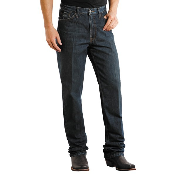 CLOSEOUTS . Stetson's standard straight-leg denim jeans are a perfect match for any true cowboy looking to lasso in some extra style. Their rugged denim has a dark rinse and is distressed at the cuffs and pockets for a lived-in look. Available Colors: DARK DESTRUCTION, BLACK RINSE. - $26.76
