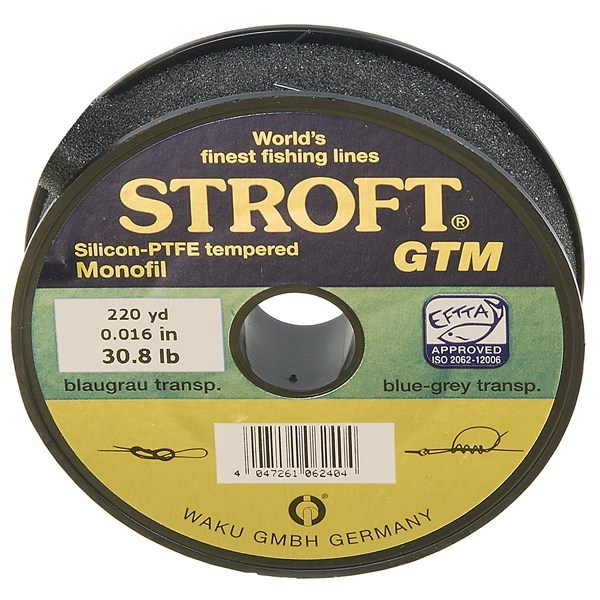 CLOSEOUTS . High-strength Stroft GTM tippet is UV-, abrasion- and coil-resistant monofilament to reduce the worry of losing fish to a weakened line. Available Colors: SEE PHOTO. Sizes: 30.8LB, 38.5LB. - $4.77