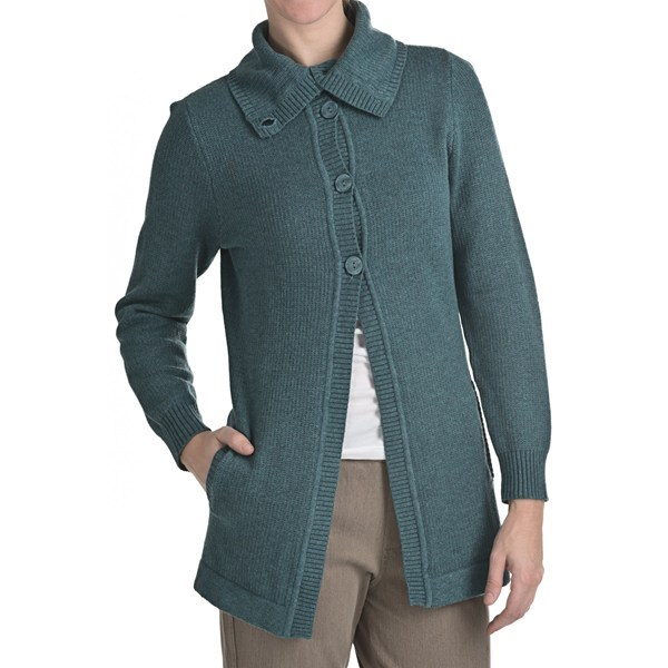 CLOSEOUTS . Float jacquard knit adds textured interest to the lightweight and supersoft fabric of Woolrich's Windward cardigan coat, a versatile cool-weather favorite featuring a chic button-down funnel neck and flyaway placket. Available Colors: COCO BEAN HEATHER, DEEP ATLANTIC HEATHER, ONYX HEATHER. Sizes: XS, S, M, L, XL, 2XL. - $59.95