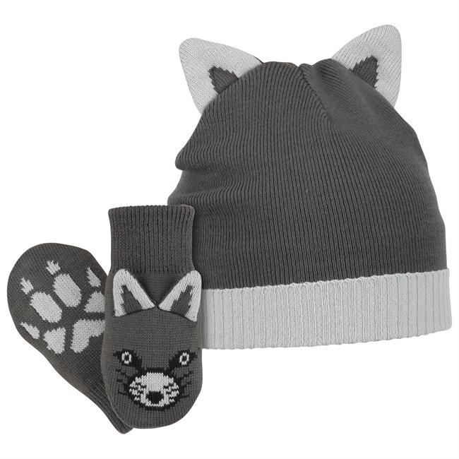 Columbia Sportswear's Snow Fox beanie hat and mittens set carries its namesake's theme all the way through, starting with tiny fox ears on top of the beanie and finishing with matching ears and a printed fox face -- and paw print -- on each mitten. - $17.50