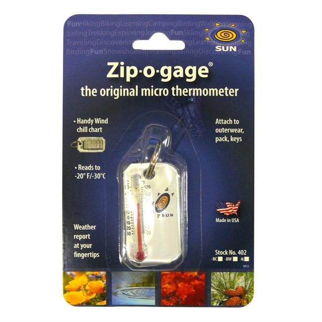 The Zip-O-Gage is a small thermometer that attaches to a backpack, purse, keychain, or parka zipper. - $4.99
