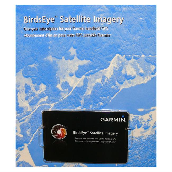 Quickly transfer high-resolution satellite imagery to your Garmin handheld device to get a true representation of your surroundings with a subscription to BirdsEye Satellite Imagery.  Use your BirdsEye Satellite Imagery subscription with BaseCamp software to quickly transfer an unlimited amount of satellite images to your Garmin device and seamlessly integrate those images into your handhelds maps whenever you need them. - $29.99