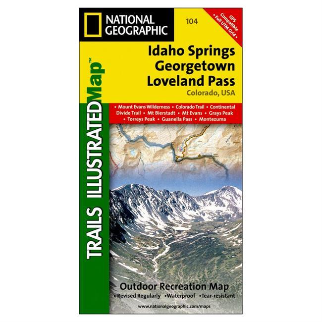 The most comprehensive recreational map for Idaho Springs and Loveland Pass. Coverage includes Arapaho and Pike national forests, Mount Evans Wilderness, Idaho Springs, Georgetown, Montezuma, Keystone, Clear Creek, Chicago Lakes, and Summit Lake. 14ers include: Mt Evans, Mt Bierstadt, Grays and Torreys peaks. Also includes Loveland, Webster, Juniper and Guanella passes. Ski Areas: Arapaho Basin, Loveland and Keystone. Includes UTM grids for use with your GPS unit. - $11.95