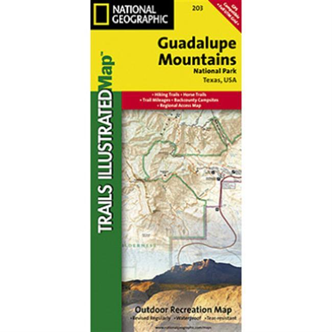Coverage includes Lincoln National Forest, Lonesome Ridge WSA, Devils Den Canyon WSA, McKittrick Canyon WSA, Guadalupe Mountains Wilderness. Includes UTM grids for use with your GPS unit.  Enjoy the Guadalupe Mounains with confidence knowing you've got the most up to date maps available from National Geographic Maps. - $11.95