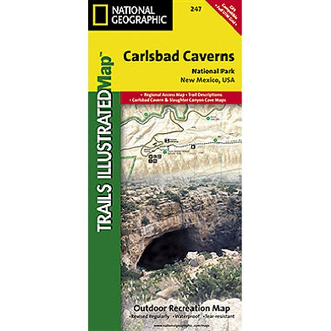 This two sided map shows two worlds - the beautiful landscape in and around Carlsbad National Park and Wilderness area on one side, with the other side showing detail and trails in one of the world's most fascinating and accessible underground wonders.  Above ground, the map includes Carlsbad Caverns National Park and Wilderness, portions of Lincoln National Forest, and the surrounding area.  Hiking trails include Chihuahua Desert Nature Trail, Old Guano Road Trail, Rattlesnake Canyon Trail, Guadalupe Ridge Trail, Slaughter Canyon Trail and Slaughter Canyon Cave Trail, Yucca Canyon Trail, Usery Trail, and Rock Shelter Trail.  The Caverns map features detailed trail information for both guided and self guided tours, including detail that shows stalactites, stalagmites, columns, breakdowns, slopes, pools, bat guano, gypsum, and unexplored passages. Includes UTM grids for use with your GPS unit.  Keep on track with National Geographic Maps. - $11.95
