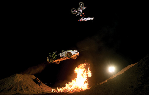 Motorsports Travis Pastrana jumps over Ken Block
