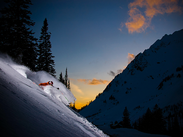 Ski Sunset Skiing in Little Cottonwood Canyon, Utah