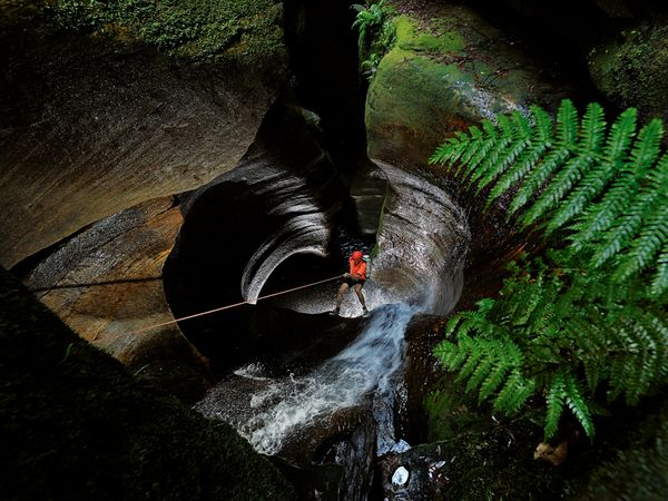 Climbing Rappelling into the Black Hole of Calcutta, Blue Mountains, Australia