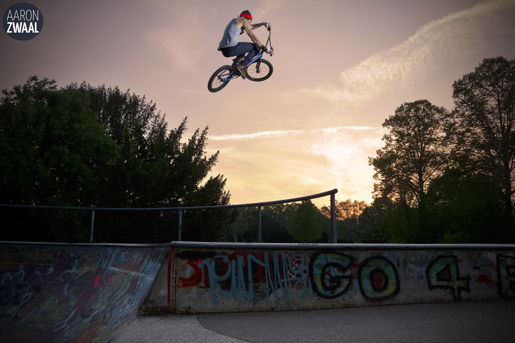 BMX Emile Bouwman boosts over the rail