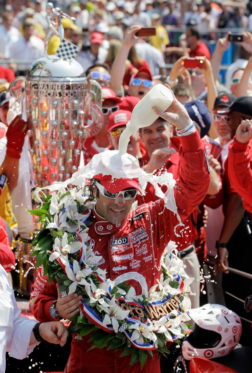 Motorsports Dario Franchitti, of Scotland, celebrates in victory circle after winning IndyCar's Indianapolis 500 auto race at Indianapolis Motor Speedway in Indianapolis, Sunday, May 27, 2012.