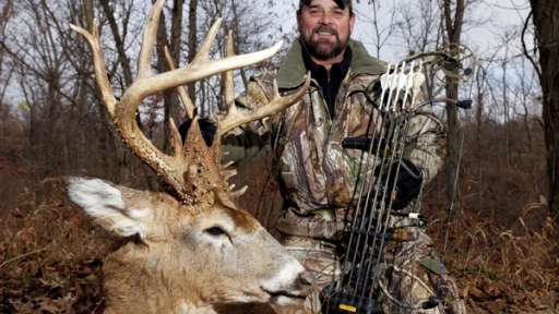 Terry Rohm from Tinks takes his largest whitetail ever with his trusty Bear bow.