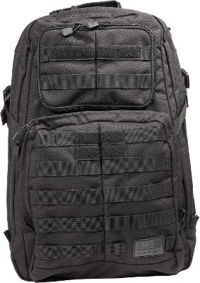 Camp and Hike Generously sized for around-the-clock operations, this multifunctional backpack combines long-lasting performance and on-the-go convenience in one, professional package. Its made of water- and tear-resistant 1,050-denier nylon for long-wearing durability. It has two large compartments with an expandable, compression-strap system for gear-carrying comfort. Its front section has an organizer, a zippered compartment, a key fob and radio pockets with hook-and-loop straps. The main compartment features three zippered mesh pockets and a large cinch pocket. Two, full-length side pockets for carrying water bottles. The top has a fleece-lined eyeglasses pocket and two external zippered pockets. Reinforced hydration pocket holds a hydration bladder for convenient water access. MOLLE-compatible webbing on the front and side for attaching 5.11s SlickStick accessory (SlickStick not included). Heavy-duty, nylon carry handle. Durable YKK zippers. Imported. Size: 18H x 13W x 8D. Color: Black. Gender: Unisex. Type: Backpacks. - $129.99