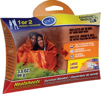 Camp and Hike Adventure Medical Kits introduces its S.O.L. (Survive Outdoors Longer) product line, tools that will help you survive the unexpected while traveling in the backcountry. Each comes in a lightweight, compact size that youll barely notice in your backpack that is until you need it to get you out of a bind. It is 20% larger than the typical survival blanket, so theres plenty of room for two. The lightweight, Heatsheets material is 30% stronger than traditional mylar for long-lasting use in the field. Reflects up to 90% of your radiated body heat for efficient warming. First-aid instructions are printed directly on the blanket. Bright orange stripe is easy to spot for rescue. Tear-resistant. Imported. Dimensions: 96L x 60W. Weight: 2.88 oz. Color: Orange. Type: Emergency Blankets. - $7.49