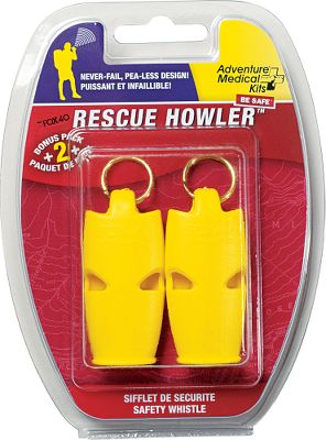 Camp and Hike Rescue Flash Signal Mirror Signal rescuers from up to 30 miles away. This mil-spec retro-reflective aiming aid makes it easy to signal distant targets, minimizing arm fatigue. Durable polycarbonate mirror wont crack or break if dropped. Size: 2W x 3H. Weight: .32 oz. Rescue Howler Whistle Two-Pack An ultralight, extremely loud whistle. Exceeds SOLAS and U.S. Coast Guard specifications. Triple frequency. Dual lanyard hole. Size: 1/4W x 2-1/8H. Weight: .5 oz. Color: Yellow. Type: Whistles. - $9.99