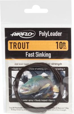 Flyfishing Polyleader is a fly-fishing leader system that consists of a monofilament core with a tapered, polymer coating in varying densities for a variety of fly presentations. Tapering the leader stores the energy from the fly line on the forward cast and then dissipates that energy smoothly as the cast unrolls and straightens before it settles on the waters surface. Using a loop-to-loop connection, loop the butt of the polyleader to the loop on the tip of your fly line. Add tippet to the monofilament loop at the tip of the leader, tie on your fly and youre ready to go. The smooth, tapered end of this trout-specific version gives easy turnover of dries, nymphs and streamers, and opens up the possibility for many new techniques. The 10-ft. version is especially useful on still waters and larger rivers. 12-lb. break strength. Per each. Length: 10. Available: Clear Floating Clear Hover Clear Intermediate Slow Sink Fast Sink Super-Fast Sink Extra-Super-Fast Sink Size: INT 10' TROUT. Color: Clear. Type: Sink Tips. - $12.99