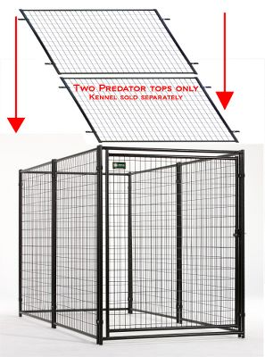 Climbing Predator top panels are ideal for securing your climbing, jumping or energetic breed inside the kennel while keeping dangerous predators out. This special two-pack makes it possible to fully enclose a 5-foot x 10-foot kennel. The heavy-duty welded wire mesh keeps your pet even safer. Panels have pre-welded clamps making installation a snap. Black powder coated. One-year limited warranty. Per 2. Size, each panel: 5W x 5L. Color: Black. - $149.99