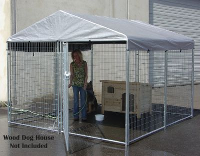 Hunting Give your dog some space with this large professional-grade AKC kennel. Seven 6-foot-high galvanized steel panels and one gated panel go up easily, and are durable and safe for your dog. Locking gate latch. Welded wire. Dimensions: 10L x 10W x 6H. Type: Dog Kennels. - $799.99