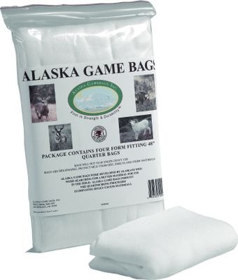 Hunting These heavy-duty, form-fitting bags protect meat against insects, dirt and harsh weather. Theyre virtually tear-resistant, extremely breathable and odor-free. Available: Quarter Bags: 48L, and stretches up to 30W. 4 per package. Economy Game Bag: 72 L. 1 per package. Northern Transport Bag: 50L x 30W. 1 per package. Alaska Deer Sock: 72L x 42W. 1 per package. 60 Quarter Bags: 60L x 42W. 4 per package. Type: Game Bags. - $3.99