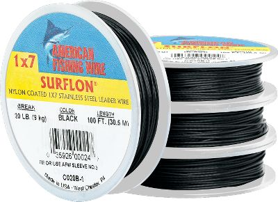 Fishing This nylon-coated, seven-strand wire is excellent for making leaders for toothy fish like blues and mackerel. The coating provides extra resistance to abrasion and corrosion. 100-ft. spools. Colors: (032)Black, (084)Bright. Size: 3. Color: Black. Type: Wire Leaders. - $8.99