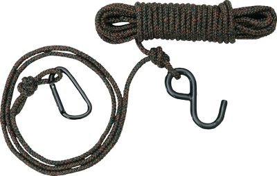 Hunting This two-part hook and carabiner system is perfect for hoisting your bow/gun and backpack into the stand. Soft nylon material resists twisting. - $9.99