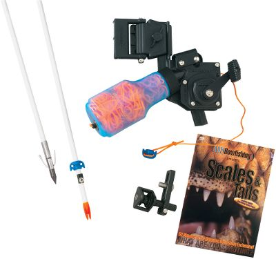 Hunting Get a solid start in the heart-pounding sport of bowfishing. Just provide a bow and hit the water this feature-packed kit handles the rest! Includes the fast-retrieving, zero-drag Retriever Pro reel (available separately); Wave rest; two fiberglass arrows with safety slides; two Sting-A-Ree tournament points; and an informative and exciting bowfishing DVD. Right- and left-hand models available. Specify either Right- or Left-hand (Right- or Left-hand models are specific to you Right or Left-handed bow). Color: Black. Type: Bowfishing Kits. - $159.99