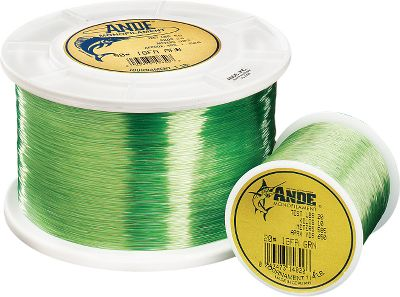 Fishing Ande Tournament monofilament holds hundreds of records including both freshwater and saltwater line class records. This premium monofilament has the low memory and limpness needed to make long casts while boasting high knot strength for battles with the hardest charging fish. Comes in 1/4-pound spools. Color: Tournament Green. Color: Tournament Green. Gender: Male. Age Group: Adult. Type: Saltwater MonFilament Lines. - $21.99