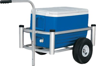 Fishing Now you can get all the fishing gear from your car to the pier or beach in a single trip. This is one of the most versatile pier/beach carts on the market today. It has all the features a shore fisherman could want, including capped rod holders, low weight, balanced operation and durable construction. Its made of marine-grade anodized-aluminum tubing with stainless steel hardware to resist corrosion. Sizes: Standard Size Fish-N-Mate The Standard model holds eight rods and reels, a 48-72 qt. cooler, a small bait cooler, a medium tackle box, lawn chairs and an umbrella. Inside dimensions: 43L x 16W x 9H. Lil Fish-N-Mate Sports four rod holders and holds a 54-quart cooler. Its constructed of the same rugged aluminum as the other models, and weighs only 14 lbs. Inside dimensions: 26.5L x 14.5W x 7H. Color: Stainless Steel. Type: Fishing Carts. - $139.99