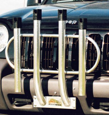 Fishing This sturdy rod-holder rack comes in four- and six-rod configurations and was designed to mount on the front bumper of a Jeep Wrangler or other pre-1993 vehicles. It will also mount on any late model light truck, car or SUV with at least a 12 x 3 metal space. Construction is 100% anodized aluminum. It can also be adapted to mount on a 2 receiver hitch with the kit sold separately. Available: Four-Rod Holder, Six-Rod Holder. Size: 4 ROD. Type: Rod Racks. - $129.99