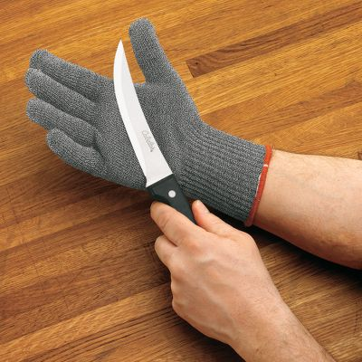 Essential safety equipment for meat processing and butchering. This hand-shielding glove is made of cut-resistant Spectra fibers interwoven with stainless steel. Fits right or left hand. One size fits most. Per each. Color: Stainless Steel. - $17.88
