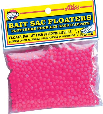 Fishing Bait Sac Floaters keep your bait floating just off the bottom and in the strike zone of waiting fish. Floaters replace approximately 25% of bait extending your supply. Hot colors provide added attraction while the buoyancy gives a cleaner drift. Per 300. Colors: Pink, Chartreuse, Orange, Red, Assorted (not shown). Color: Chartreuse. Type: Sac Floaters. - $2.19