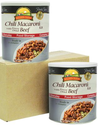 Ideal for everyday use and food storage, this two-pack of Chili Macaroni with Beef is delicious and easy to prepare simply add water, cook and serve it to the whole family in minutes. Store in a cool, dry place at temperatures between 55F and 70F. 25-year shelf life. Two 48-oz. cans.Made in USA. - $79.99