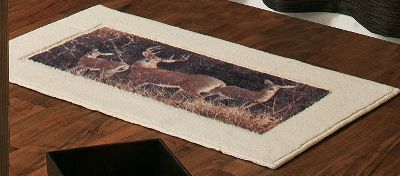 Hunting From the big woods of northern Maine to the deep saw grass and hammock swamps of Florida, these adaptable animals are a prevalent part of the North American wilderness. Now they will inhabit your bathroom with their notorious stealth and grace. Washable, 100%-nylon bath rug. Imported. Dimensions: 20 x 34 . - $19.99