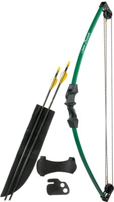 Hunting Perfect for your young archer, the Bear Archery Fred Bear Scout Bow Set is a beginners archery set for ages 4 to 7. Durable composite limbs for long-lasting performance. Includes bow, two arrows, armguard, quiver, tab and sight pin. Ambidextrous grip. Length: 33. Draw length: 16-24. Draw wt: 13 lbs. Colors: Flo Green, Flo Orange, Purple. Color: Green. Age Group: Kids. Type: Recurve Bows. - $29.99