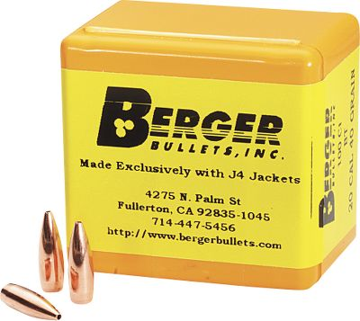 Preferred by benchrest competitors and varmint shooters worldwide for their superior accuracy, Berger Bullets is now offering lethal Match VLD rounds for big-game hunters. Match VLD bullets have a sharp nose that penetrates up to 3 before expansion begins, resulting in deeper wound channels of up to 18 in vital areas for maximum hemorrhaging. Offered in calibers from .20 to .30, each has a J-4 jacket with nearly perfect wall concentricity thats uniformly less than .0003. Cores are cut from 99.9% pure lead, then shaped and swaged through special dies to create a bullet thats round to .0002. Per 100. Made in USA. Type: Rifle Bullets. - $26.99