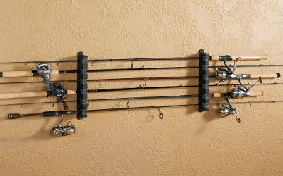 Fishing Safely store and secure your rods with these convenient, foam-grip rod racks. Three different models to customize to fit your space. Available: Vertical Rod Rack (five-rod storage) 17W x 3D Horizontal Rod Rack (six-rod storage) 13-1/2H x 2-1/2D Vertical Rod Rack (six-rod storage) 13-1/2W x 2-1/2D Color: Black. Size: 6ROD VERTICAL RACK. Color: Black. Type: Rod Racks. - $13.99