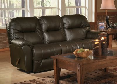 Entertainment Sophisticated furniture worthy of your home. This traditionally styled collection seamlessly blends with almost any dcor. Details like the hourglass-shaped lower arms and single-seam-line accenting add understated elegance. Supple and smooth top-grain leather provides exceptional comfort and class. Recline with the push of a button using the optional Power Motion feature. The 24-volt Okin DC Betadrive motor delivers smooth, quiet operation. Made in USA. 41H x 86-1/2W x 39D. Style: Manual, Power. Colors: Chocolate, Burgundy. Color: Burgundy. Type: Sofas. - $1,299.99
