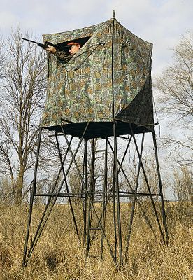 Hunting The versatility of this two-part combination kit greatly increases its hunting applications and sets it apart from other stands on the market. It includes a 7-ft. Booster elevated platform and a hunting blind that can be used atop the platform or as a stand-alone ground blind. The blind is 60-square and 61 tall with 12 large viewing windows and a big roof opening. An easy-to-use hub system makes for simple assembly, yet adds extra support for sturdiness. The fabric is 600-denier polyurethane-backed polyester with a Phantom Pro black interior, and its Scent Elimination coating conceals human scent. The Booster elevated steel platform is 48 x 48 accessed via a 20 x 20 flip-up trap door in the floor atop an included ladder with 9-wide steps. A handrail on the ladder provides additional safety during entry and exit. The blind secures to the platform with four tie-down straps and four extension rods to withstand strong winds. Five ground stakes are also included for securing the setup to the ground. Weight: 125 lbs. Weight Capacity: 500 lbs. A Video Public Service Announcement from the TREESTAND MANUFACTURERS ASSOCIATION Color: Black. Type: Towers. - $399.99