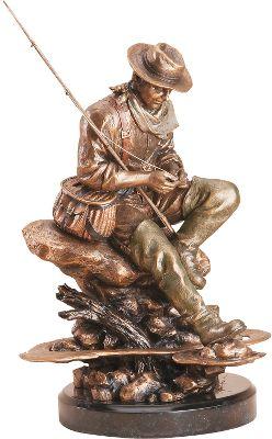 Flyfishing Part of the Marc Pierce Signature Collection, this meticulously handcrafted sculpture captures the quiet contentment and satisfaction of a fly-fishing enthusiast putting on a fly while seated on the shore of his favorite fishing spot. It was created using the process called Montana bronzing, a procedure that blends fine resins with pure pewter and bronze. The sculptures beautiful finish is the result of hand-applied patinas and metallic paint that are carefully matched to accent all the subtle details of the artwork. Comes in a special gift box. Designed in USA and made in China. Dimensions: 8W x 13.25H. Color: Bronze. - $159.99