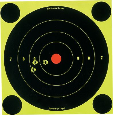 Track your shots easily with the Shoot-N-C Targets. These targets have a fluorescent chartreuse backround covered with a flat black coating. When a bullet strikes the target, the coating flakes off at about twice the size of the hole to leave an easy-to-see halo. 8 round bulls-eye. Per 30. 360 pasters. Color: Chartreuse. - $19.99