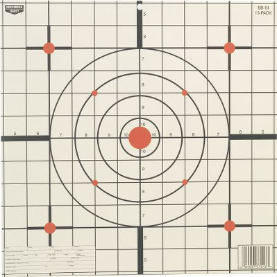Use these simple, effective targets to sight in your firearm. Targets have designated writing spaces to record key data, including temperature, yardage, make/model, caliber, bullet and more. Each pack contains a bonus sheet of four 3 Shoot-N-C targets and 10 repair pasters. Available: 8 -round bull's-eye targets per 26 12 -round bull's-eye targets per 13 12 -sight-in targets per 13 Size: 12 SIGHT IN. Type: Targets. - $4.99
