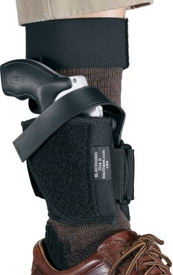 Entertainment Ankle-carry your handgun safely and confidently. The addition of a calf strap prevents your gun from sliding down your ankle. This rig is made of soft knit fabric that feels comfortable against your skin. Closed-cell foam acts as a moisture barrier and adds padding to protect your firearm. A molded thumb break and nonstretch retention strap secure the gun in the holster while allowing quick access if needed. Right-ankle model. Made in USA. Type: Concealed Carry. - $34.99