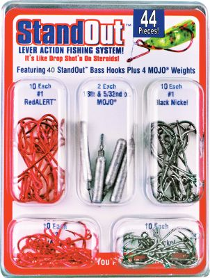Fishing Unique lever-action hook enhances the tantalizing action of soft plastics or bait, making drop shotting more effective than ever. Baits stay in upright position for better visibility. Walleye kit includes 10 red hooks in each size: 1, 2, 4 and 6. Bass kit includes 10 red and 10 black nickel hooks in each size: 1 and 2. Both come with two of each size: 1/16 and 5/32 Mojo weights. Available: Walleye, Bass. Color: Black Nickel. - $7.88