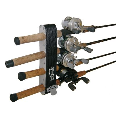 Fishing Features shur-grip release tab for a secure hold and easy access. Molded rod inserts hold up to eight rods. Includes mounting screws that recess into molded rubber grommets for maximum rod protection. - $25.99