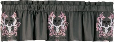 Entertainment Michael Waddells exciting valance features the signature Bone Collector logo in a pink and grey feminine interpretation. Made of a 55/45 cotton/polyester blend. Machine washable. Imported.Dimensions: 88W x 18H. Type: Valances. - $29.99