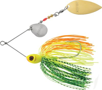 Fishing This bait delivers tremendous flash and vibration and has a twist-bend line tie to withstand vicious reaction strikes. Counter-rotating Colorado Willow blades. Sizes: 1/2 oz., 3/8 oz. Colors: (615)Snow White, (616)White Chartreuse, (682)Ozark Smoke, (683)Cortez Shad, (685)Alpine, (687)Limeslice, (694)Herring, (702)Foxy Shad, (704)Foxy Lady, (705)Firetiger. Color: Willow. - $4.99