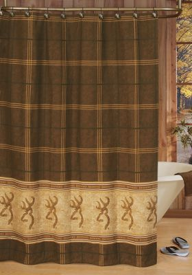 Hunting Premium-quality bathroom accessories from a true outdoor legend. The Buckmark Shower Curtain has the legendary Browning symbol on a light-colored border beneath a pane of brown plaid. Rugged 100% cotton duck. Liner not included. Machine washable. Made in USA. Dimensions: 72 x 72. Color: Brown. - $34.99