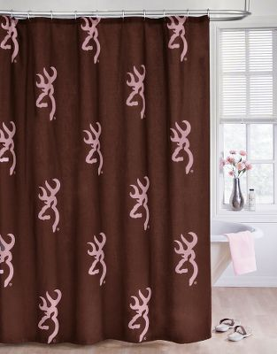 Hunting Sporting Browning Buckmark logos throughout, this shower curtain blends the bold brown tones of nature with soft, feminine shades of pink. Made of a 50/50 cotton/polyester blend. Twelve hook-ready holes at top. Liner not included. Machine washable. Imported. Size: 72 x 72. Color: Pink/Brown. Color: Pink/Brown. - $29.99
