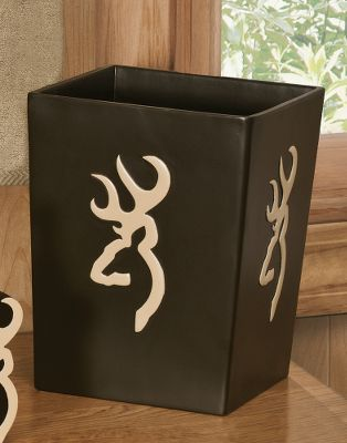 Hunting The legendary Browning logo adds a distinctive touch to your bathroom. These resin wastebaskets are featured in tan on a dark brown background. Imported. Color: Dark Brown. - $39.99